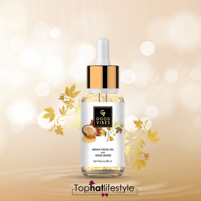 Good Vibes Argan Facial Oil with Golden leaves